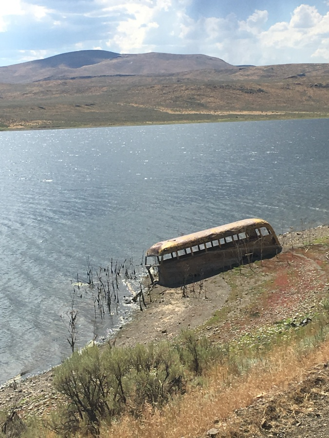 bus by lake