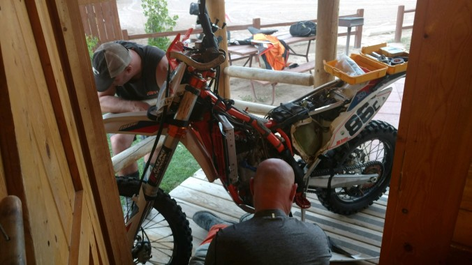 working on bike